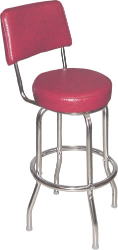 Bennington Furniture Corp Cranberry Red Bar Stool With Back With